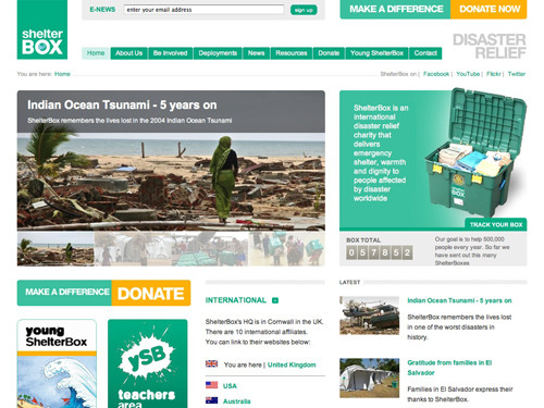 ShelterBox website home page