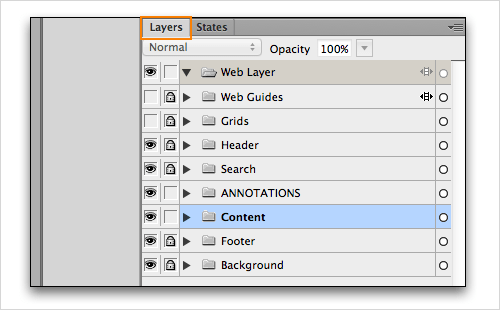 Adobe Fireworks Layers panel