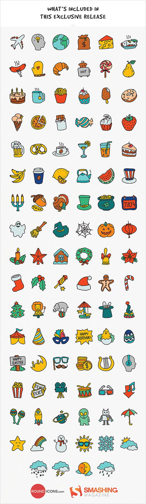 100 Handsome Hand-Drawn Doodle Icons [Freebie]