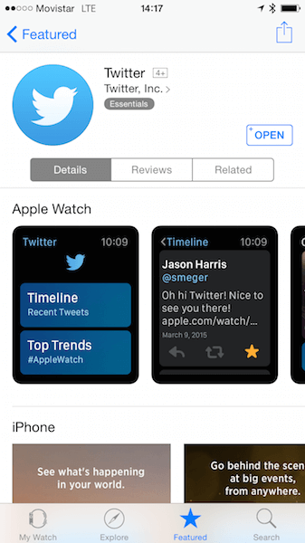 Twitter's support for Apple Watch is shown in the profile for Twitter's phone app in the App Store