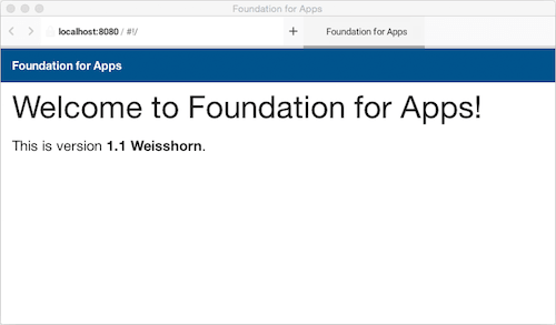 Foundation for Apps' default home page