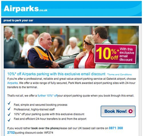 Airparks.co.uk newsletter with promotion code