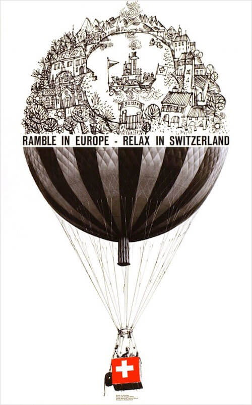 Philippe Giegel poster for the Swiss Travel Office