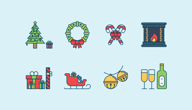 New Year Celebration icon set