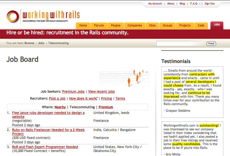 Workingwithrails Job Board Screenshot