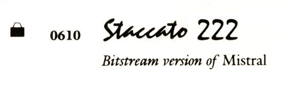 Staccato: From the Bitstream catalogue, early 1990s.