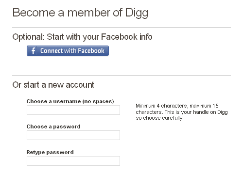 Digg sign-up form