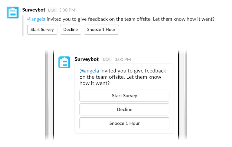 How messages are displayed within the Slack app