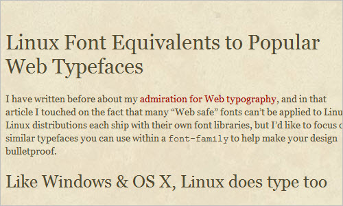 Linux Font Equivalents to Popular Web Typefaces