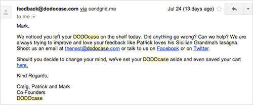 Dodo Case's email for abandoned carts.