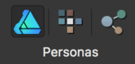 The three work environments: draw persona (leftmost icon), bitmap persona (middle icon) and export persona (rightmost icon).