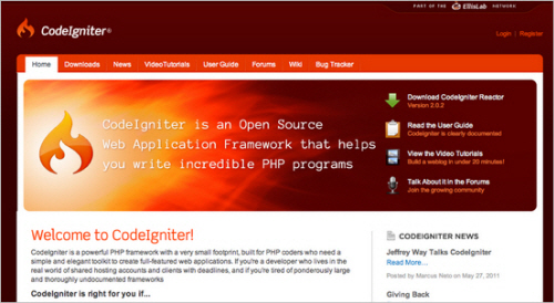 The Codeigniter homepage