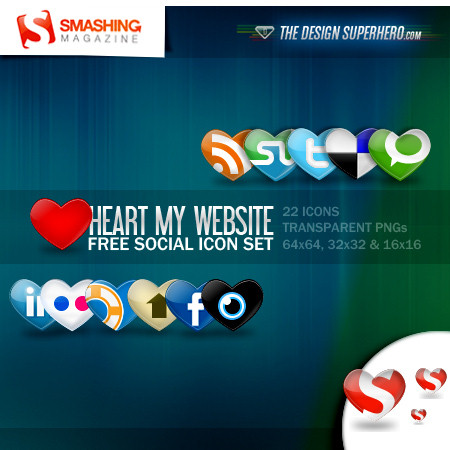 Hearting Social Icon Set