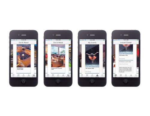 Screenshots of the iPhone app that IDEO created for Lincoln Center.