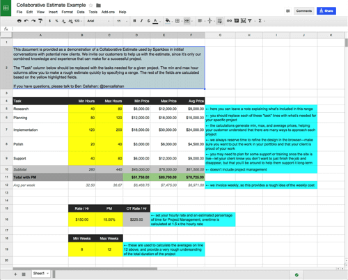 An example of a collaborative estimate, created in Google Drive and shared with a potential customer.