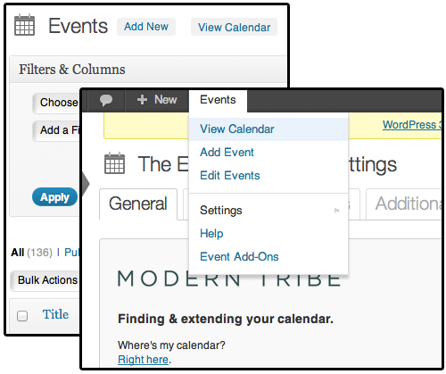 Added view calendar links throughout the plugin.