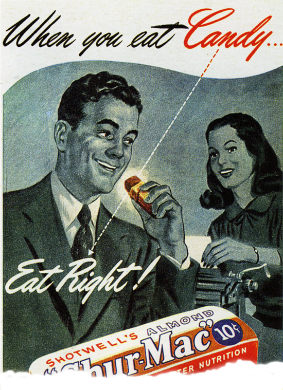 Style of American ads of the forties and fifties.