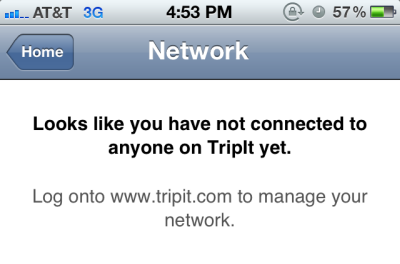 TripIt directs users to the website for setting up a network