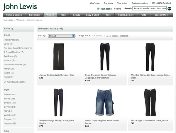 Jeans on the John Lewis website
