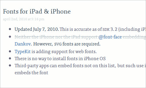 Fonts for iPad & iPhone