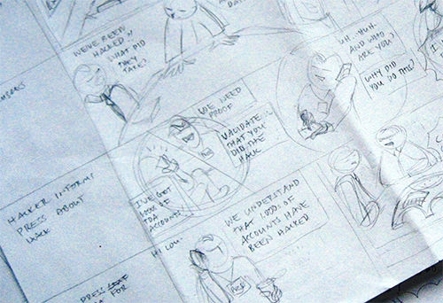 A storyboard of thumbnail sketches is a way to design the story.