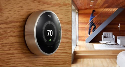 Nest uses sensors to adapt the temperature to activity in the home.