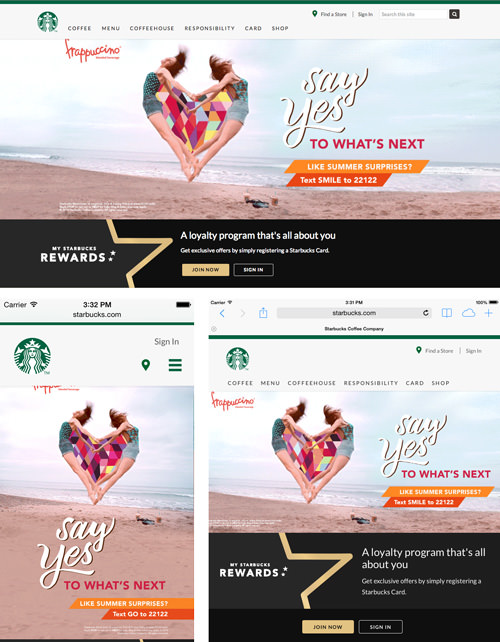 The Starbuck's website in different states.