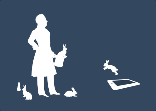 A magician with a bunny coming out of a tablet