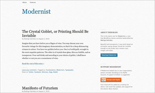 Modernist: Free WordPress Theme with Focus on Typography