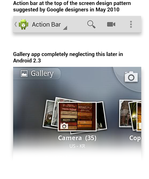 Action bar at the top of the screen design pattern.