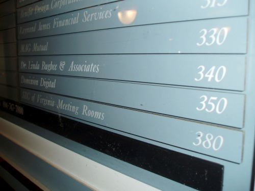 Wayfinding and Typographic Signs - office-suite-directory