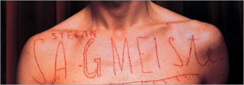 Sagmeister's notorious AIGA poster in which the message was cut into his skin.
