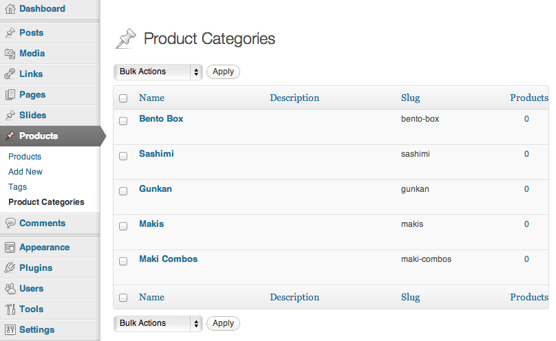 The Product Categories custom taxonomy.