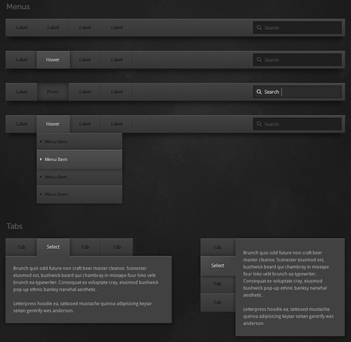 Dark UI Kit for Adobe Fireworks