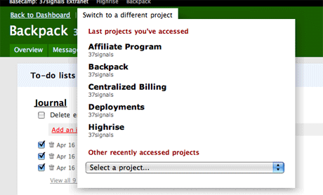 Basecamp project switcher
