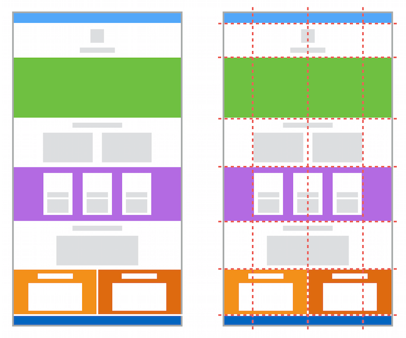 Modern center-aligned and full-width content layout, as explained below.