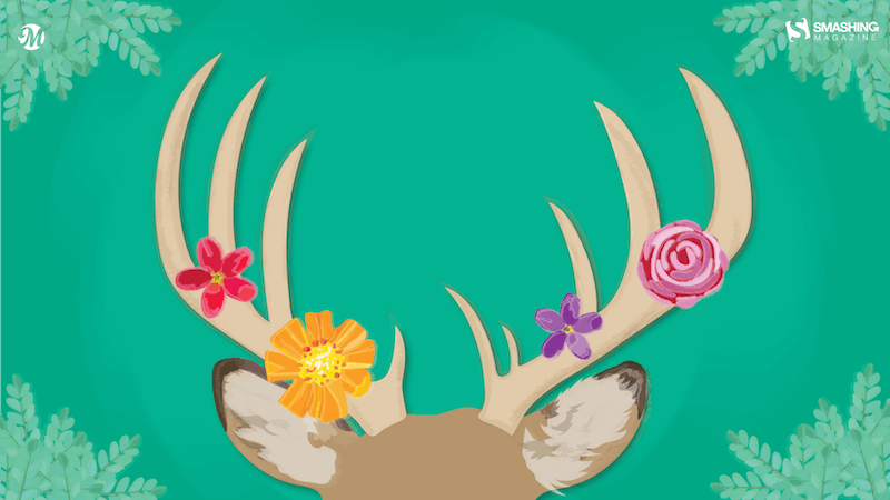 Illustration of a pair of deer antlers decorated with colorful flowers.