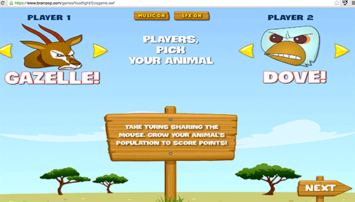 BrainPOP's learning game about the food chain, young kids benefit from instructions on demand