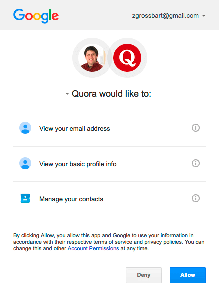 The step-2 dialog for the Google Quora OAuth2 process