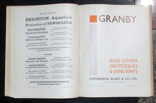 "A spread from ""Specimen of Printing Types"" by Stephenson-Blake."