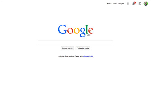 Google's home page demonstrates the importance of focusing the user's attention.