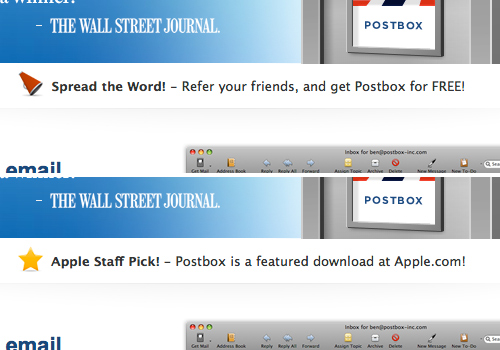 Rotating messages featured on the Postbox homepage