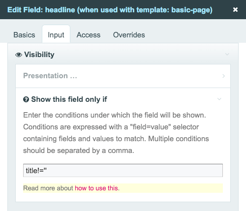 Screenshot of settings for inputfield dependencies