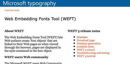 Microsoft Web Embedding Fonts Tool (WEFT)