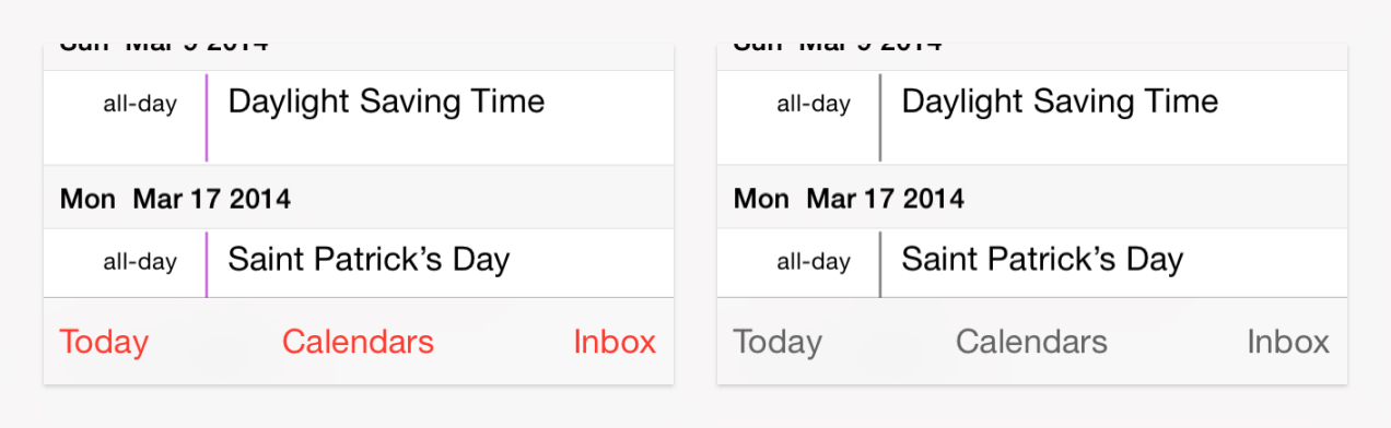 Two views of a calendar app, one with color and one in greyscale.