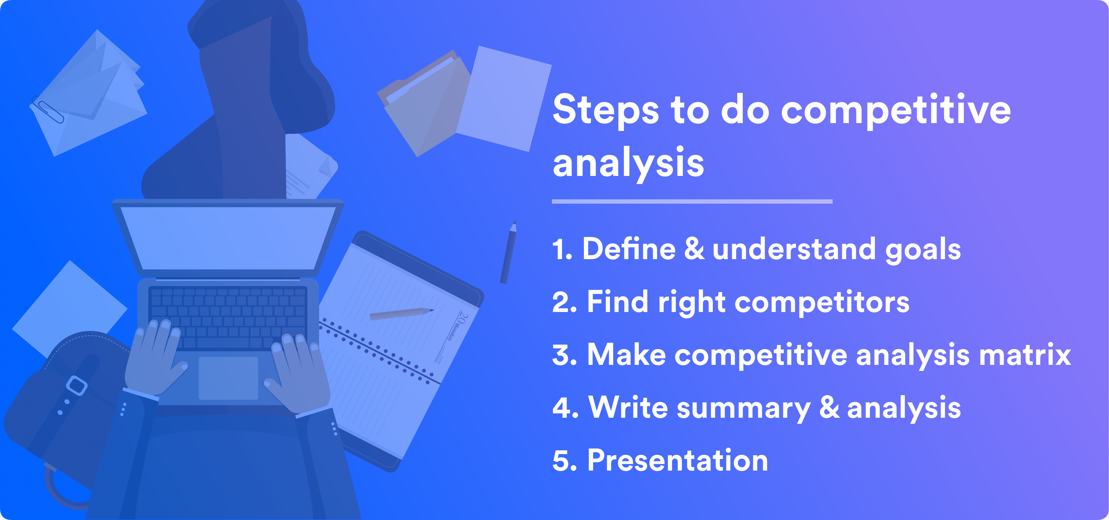 competitor analysis a brief guide Competitive analysis is a broad term for the practice of researching, analyzing, and comparing competitors in relation to yourself companies do it for a wide variety of reasons – seo, branding, gtm strategy , etc – and you can definitely use it for ux and conversion optimization, too.