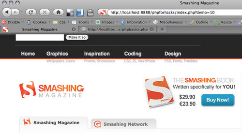 Smashing Magazine homepage loaded with cURL