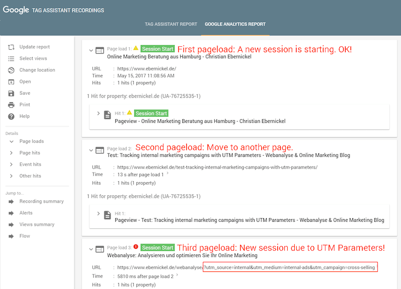 Clicks on an internal link with UTM parameters results in a new session
