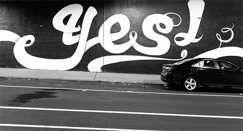 Graffiti letters stating yes