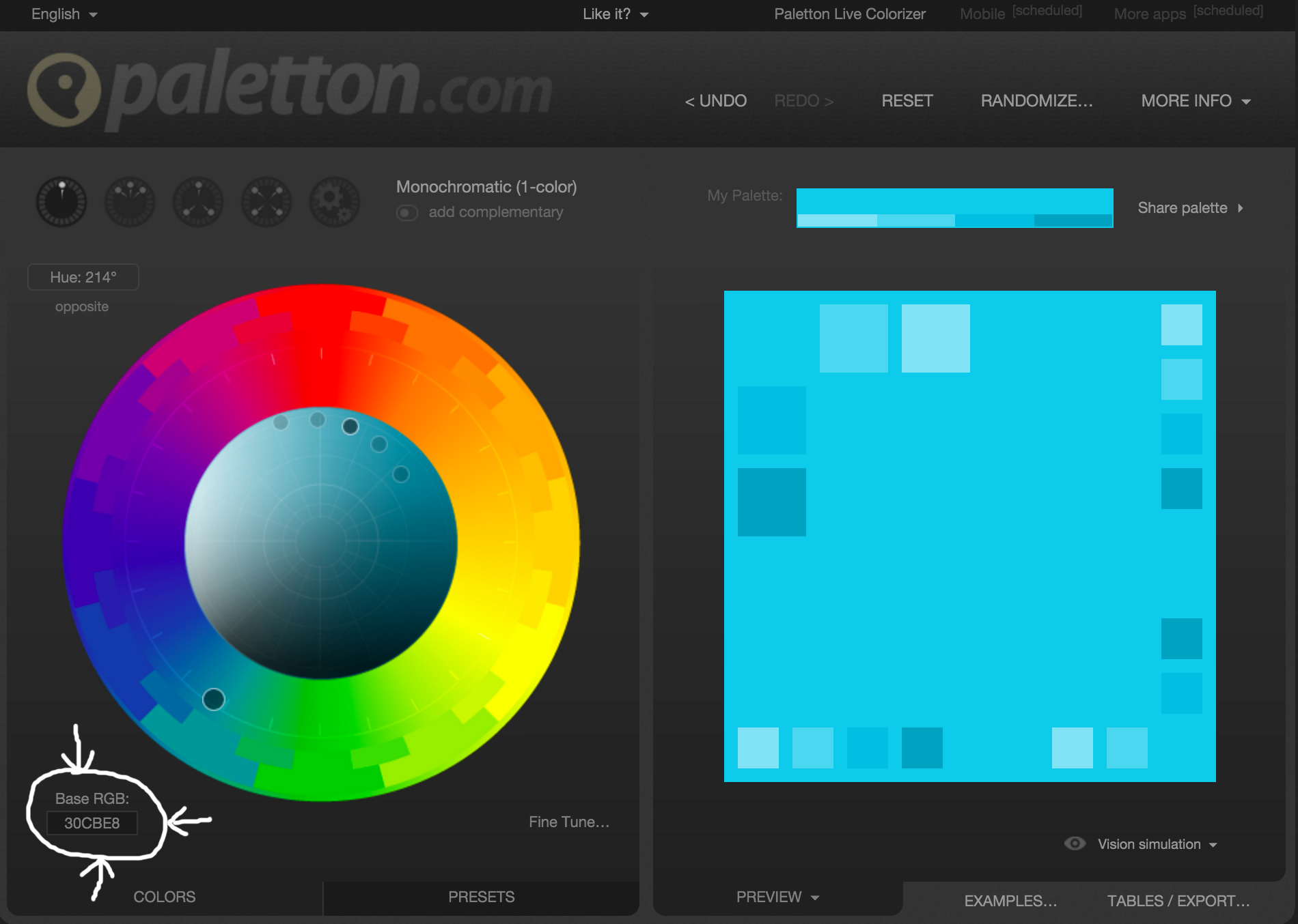 Screenshot Of Paletton Setting Base Color